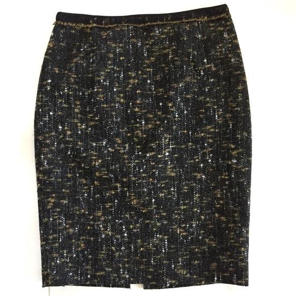905982133ddc Tahari Skirts | Black Tweed Virgin Wool High Waist Skirt 8 | Poshmark
